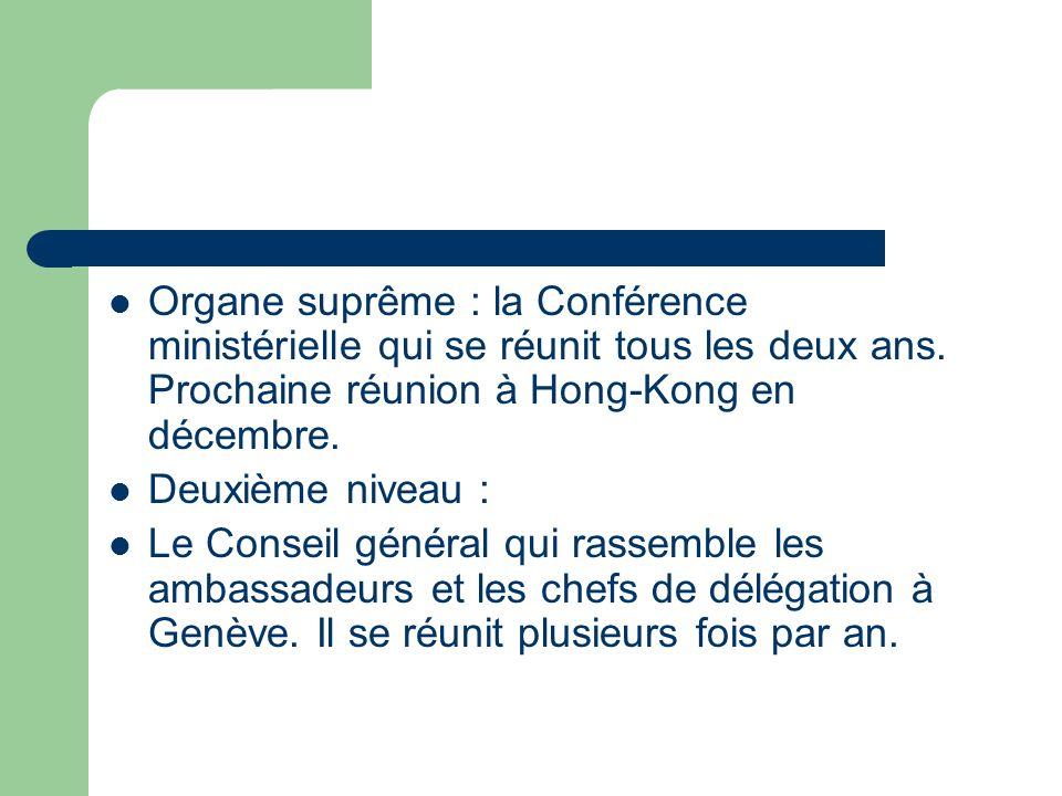 Organe suprême : la Conférence ministérielle qui se réunit tous les deux ans. Prochaine réunion à Hong-Kong en décembre. Deuxième niveau : Le Conseil