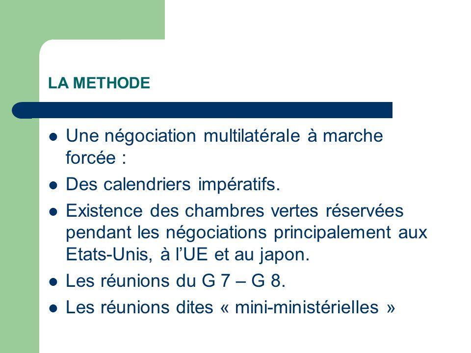 LA METHODE Une négociation multilatérale à marche forcée : Des calendriers impératifs. Existence des chambres vertes réservées pendant les négociation