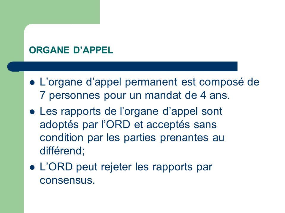 ORGANE DAPPEL Lorgane dappel permanent est composé de 7 personnes pour un mandat de 4 ans.