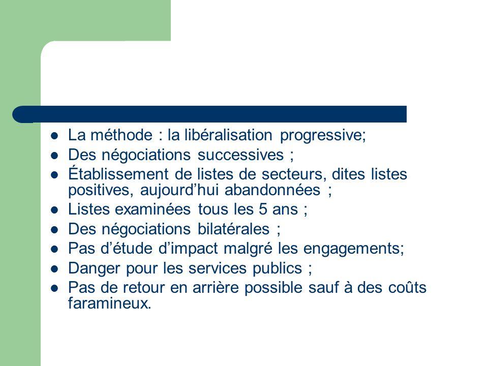 La méthode : la libéralisation progressive; Des négociations successives ; Établissement de listes de secteurs, dites listes positives, aujourdhui aba