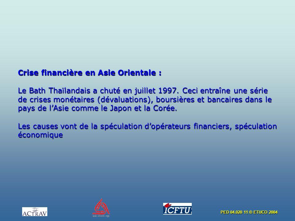 PED 04.020 11 © ETUCO 2004 Crise financière en Asie Orientale : Le Bath Thaïlandais a chuté en juillet 1997. Ceci entraîne une série de crises monétai