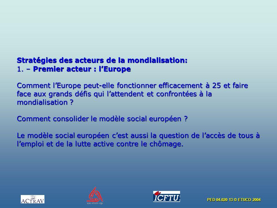 PED 04.020 13 © ETUCO 2004 Stratégies des acteurs de la mondialisation: 1. – Premier acteur : lEurope Comment lEurope peut-elle fonctionner efficaceme