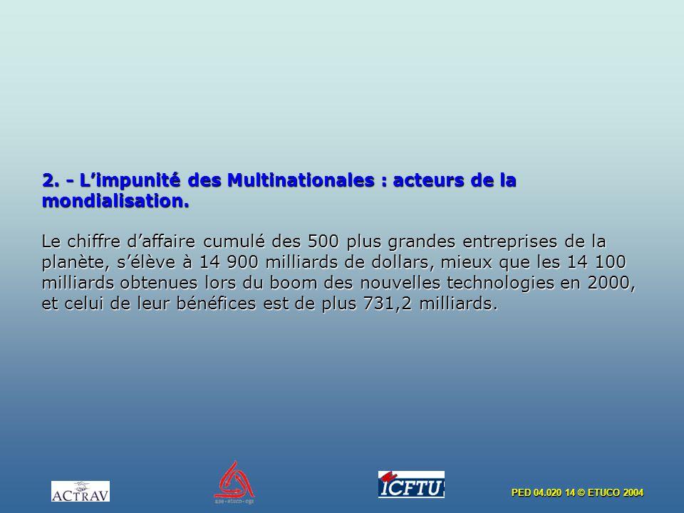 PED 04.020 14 © ETUCO 2004 2. - Limpunité des Multinationales : acteurs de la mondialisation. Le chiffre daffaire cumulé des 500 plus grandes entrepri