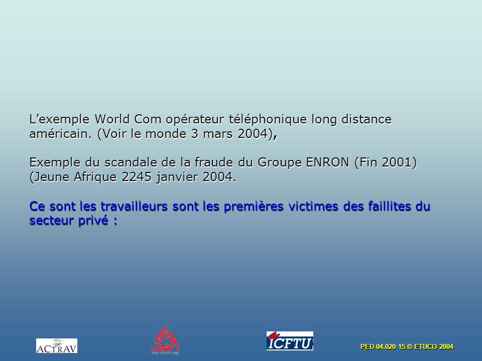 PED 04.020 15 © ETUCO 2004 Lexemple World Com opérateur téléphonique long distance américain. (Voir le monde 3 mars 2004), Exemple du scandale de la f