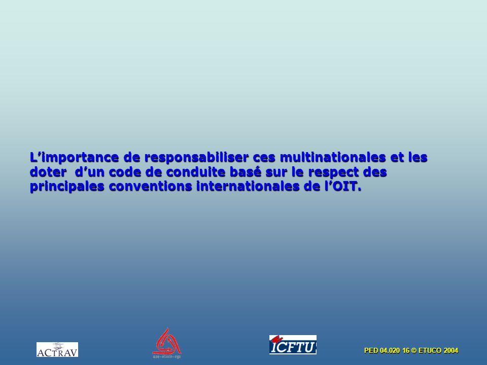 PED 04.020 16 © ETUCO 2004 Limportance de responsabiliser ces multinationales et les doter dun code de conduite basé sur le respect des principales conventions internationales de lOIT.