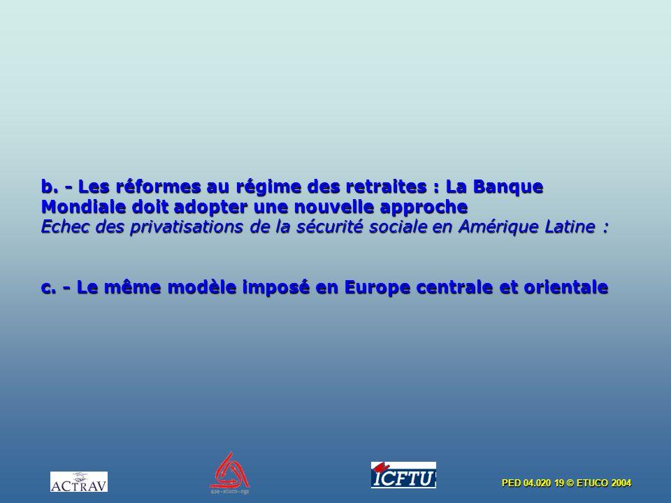 PED 04.020 19 © ETUCO 2004 b. - Les réformes au régime des retraites : La Banque Mondiale doit adopter une nouvelle approche Echec des privatisations