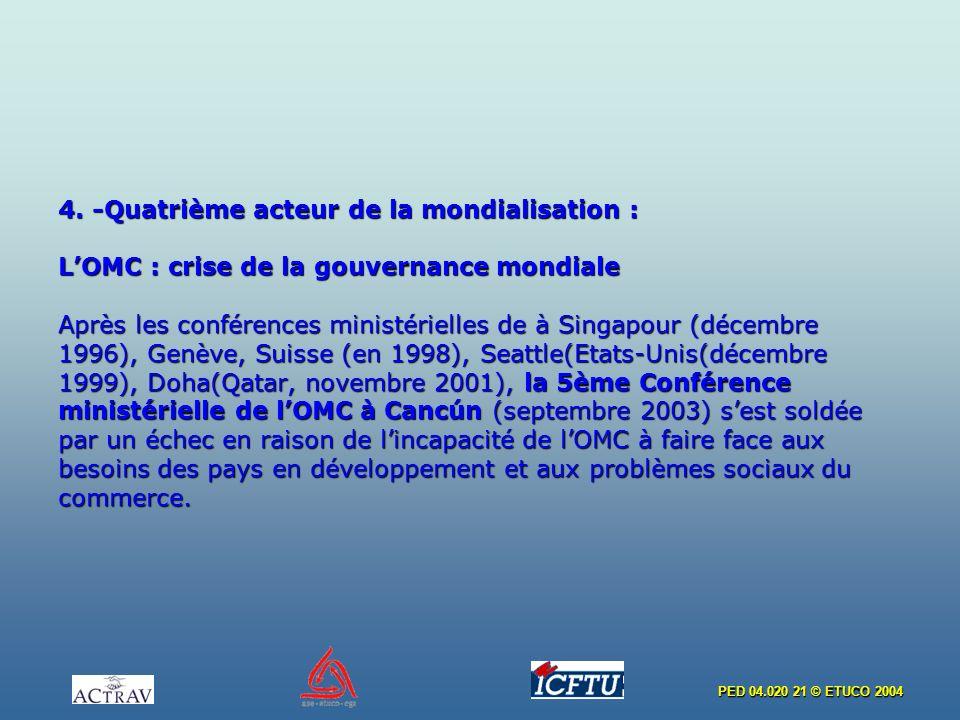 PED 04.020 21 © ETUCO 2004 4. -Quatrième acteur de la mondialisation : LOMC : crise de la gouvernance mondiale Après les conférences ministérielles de