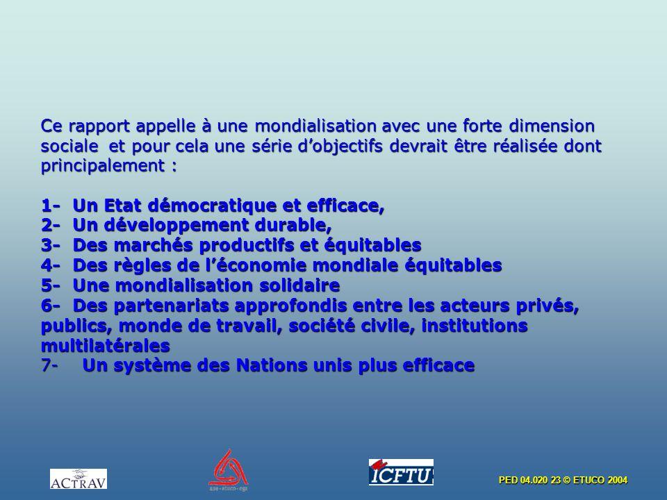 PED 04.020 23 © ETUCO 2004 Ce rapport appelle à une mondialisation avec une forte dimension sociale et pour cela une série dobjectifs devrait être réa
