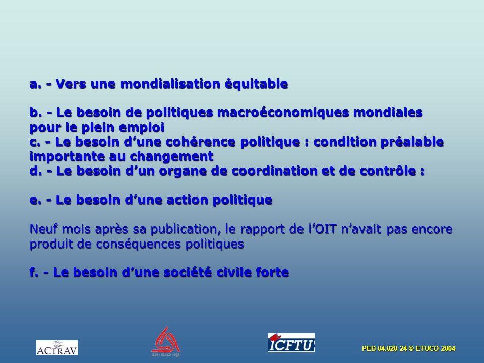 PED 04.020 24 © ETUCO 2004 a. - Vers une mondialisation équitable b. - Le besoin de politiques macroéconomiques mondiales pour le plein emploi c. - Le