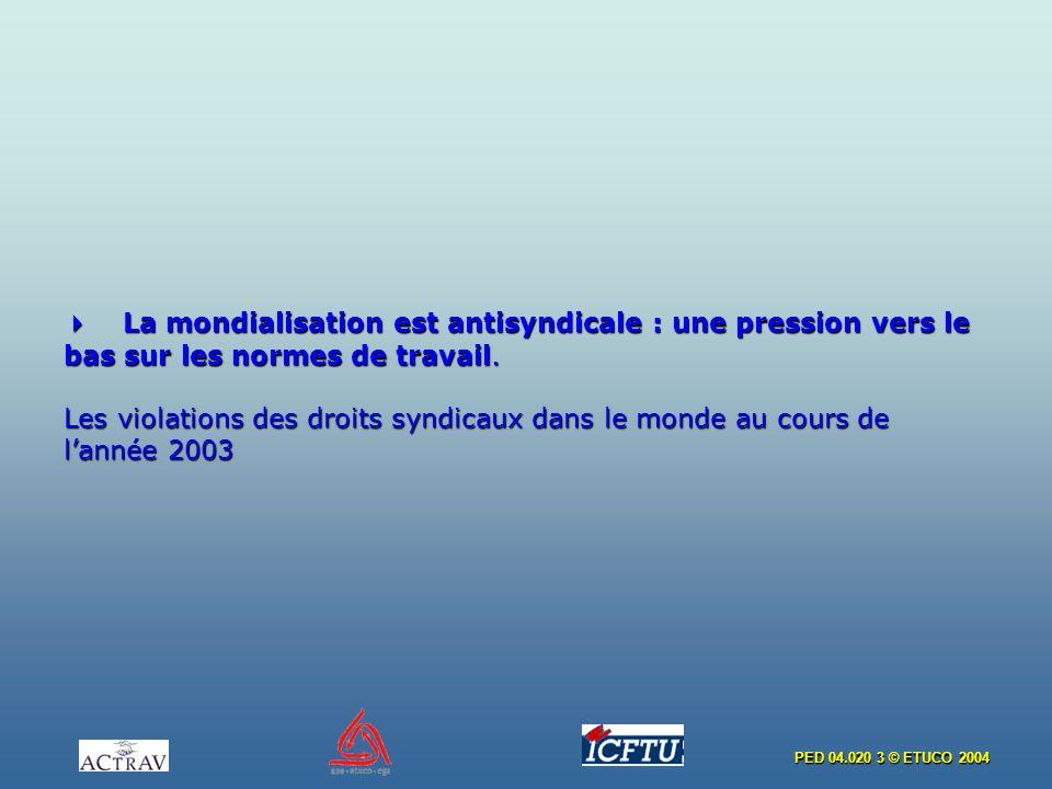 PED 04.020 3 © ETUCO 2004 La mondialisation est antisyndicale : une pression vers le bas sur les normes de travail. Les violations des droits syndicau