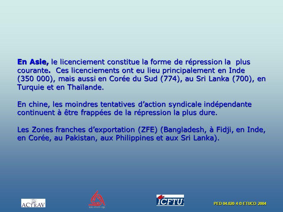 PED 04.020 4 © ETUCO 2004 En Asie, le licenciement constitue la forme de répression la plus courante. Ces licenciements ont eu lieu principalement en
