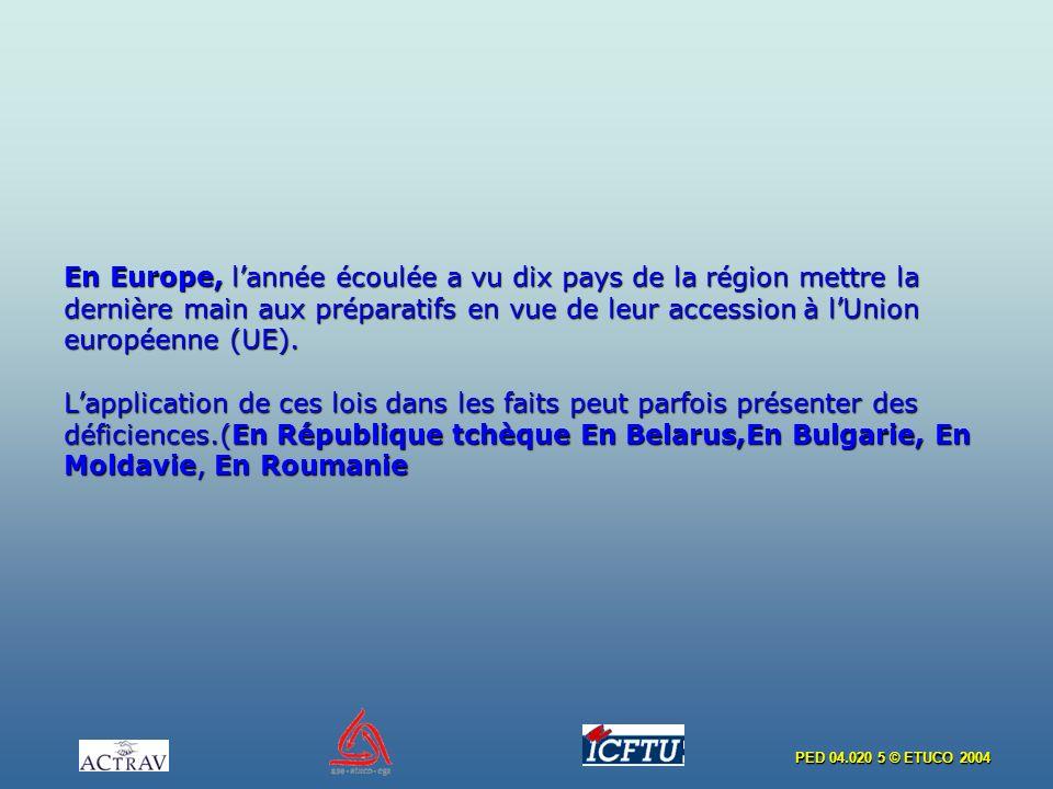 PED 04.020 5 © ETUCO 2004 En Europe, lannée écoulée a vu dix pays de la région mettre la dernière main aux préparatifs en vue de leur accession à lUnion européenne (UE).