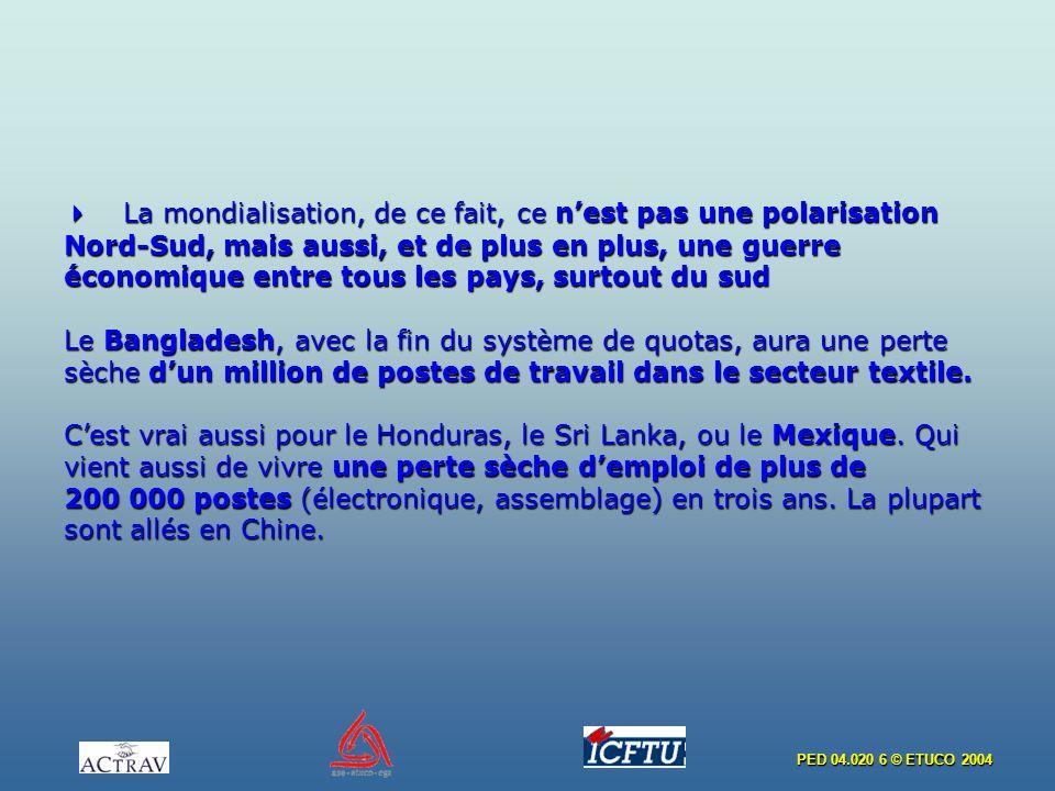 PED 04.020 6 © ETUCO 2004 La mondialisation, de ce fait, ce nest pas une polarisation Nord-Sud, mais aussi, et de plus en plus, une guerre économique