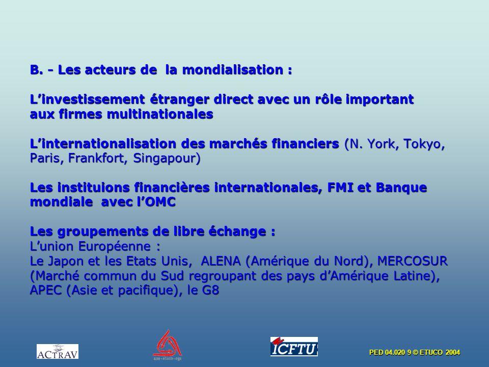 PED 04.020 9 © ETUCO 2004 B. - Les acteurs de la mondialisation : Linvestissement étranger direct avec un rôle important aux firmes multinationales Li