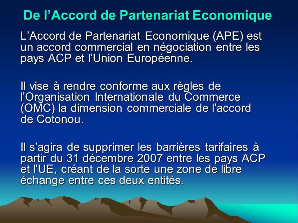 De lAccord de Partenariat Economique LAccord de Partenariat Economique (APE) est un accord commercial en négociation entre les pays ACP et lUnion Euro