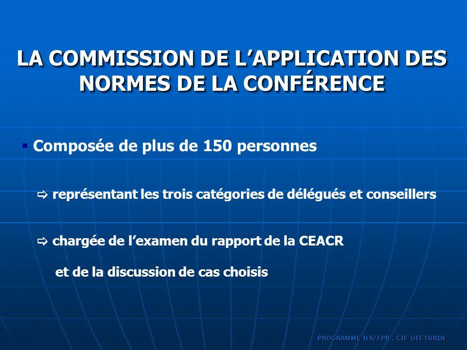 Composée de plus de 150 personnes LA COMMISSION DE LAPPLICATION DES NORMES DE LA CONFÉRENCE représentant les trois catégories de délégués et conseille