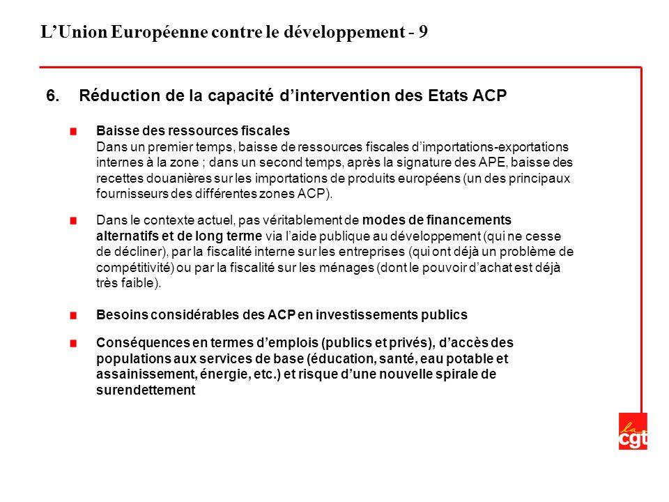 LUnion Européenne contre le développement - 9 6. Réduction de la capacité dintervention des Etats ACP Baisse des ressources fiscales Dans un premier t