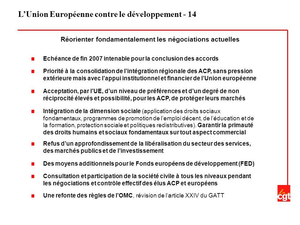 LUnion Européenne contre le développement - 14 Echéance de fin 2007 intenable pour la conclusion des accords Priorité à la consolidation de lintégration régionale des ACP, sans pression extérieure mais avec lappui institutionnel et financier de lUnion européenne Acceptation, par lUE, dun niveau de préférences et dun degré de non réciprocité élevés et possibilité, pour les ACP, de protéger leurs marchés Intégration de la dimension sociale (application des droits sociaux fondamentaux, programmes de promotion de lemploi décent, de léducation et de la formation, protection sociale et politiques redistributives).