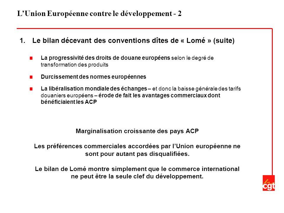 LUnion Européenne contre le développement - 2 1. Le bilan décevant des conventions dîtes de « Lomé » (suite) La progressivité des droits de douane eur