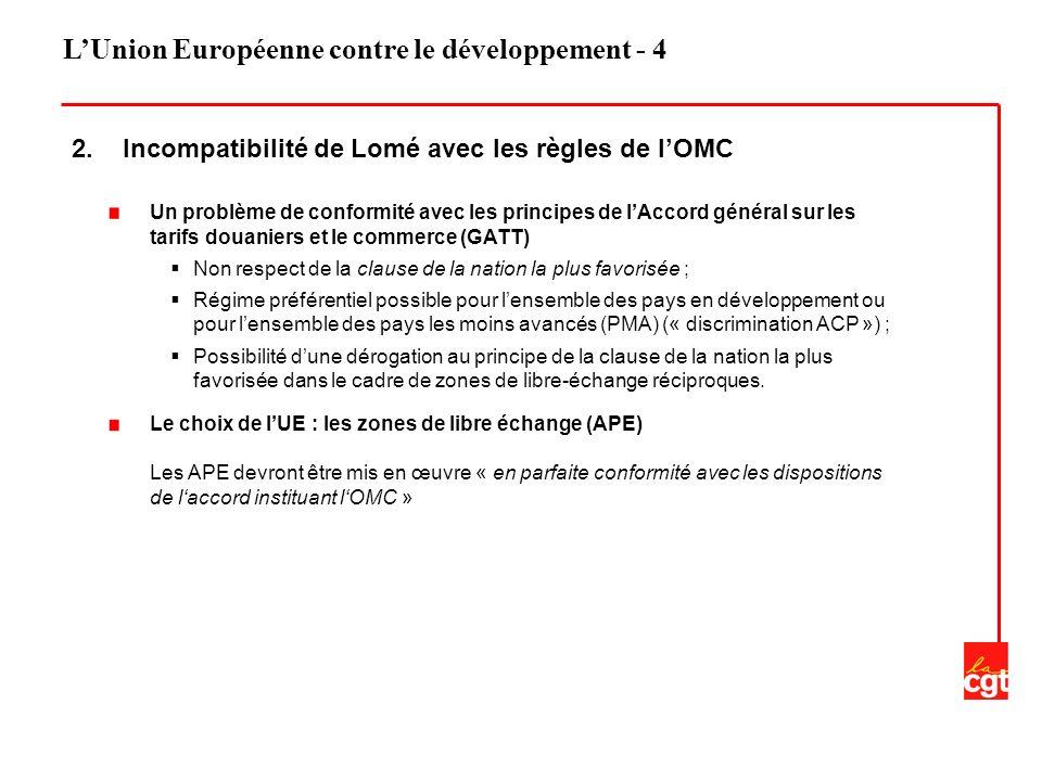 LUnion Européenne contre le développement - 4 2. Incompatibilité de Lomé avec les règles de lOMC Un problème de conformité avec les principes de lAcco