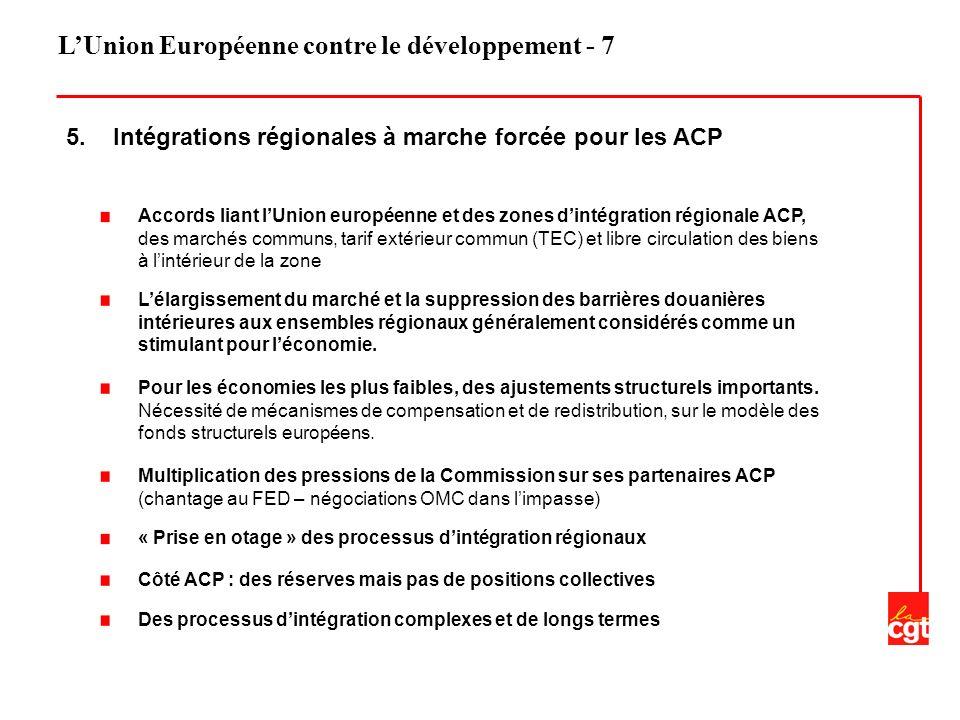 LUnion Européenne contre le développement - 7 5. Intégrations régionales à marche forcée pour les ACP Accords liant lUnion européenne et des zones din