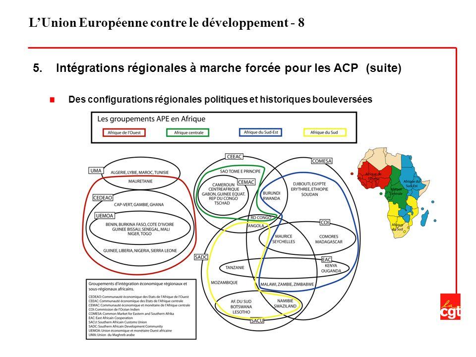 LUnion Européenne contre le développement - 8 5. Intégrations régionales à marche forcée pour les ACP (suite) Des configurations régionales politiques