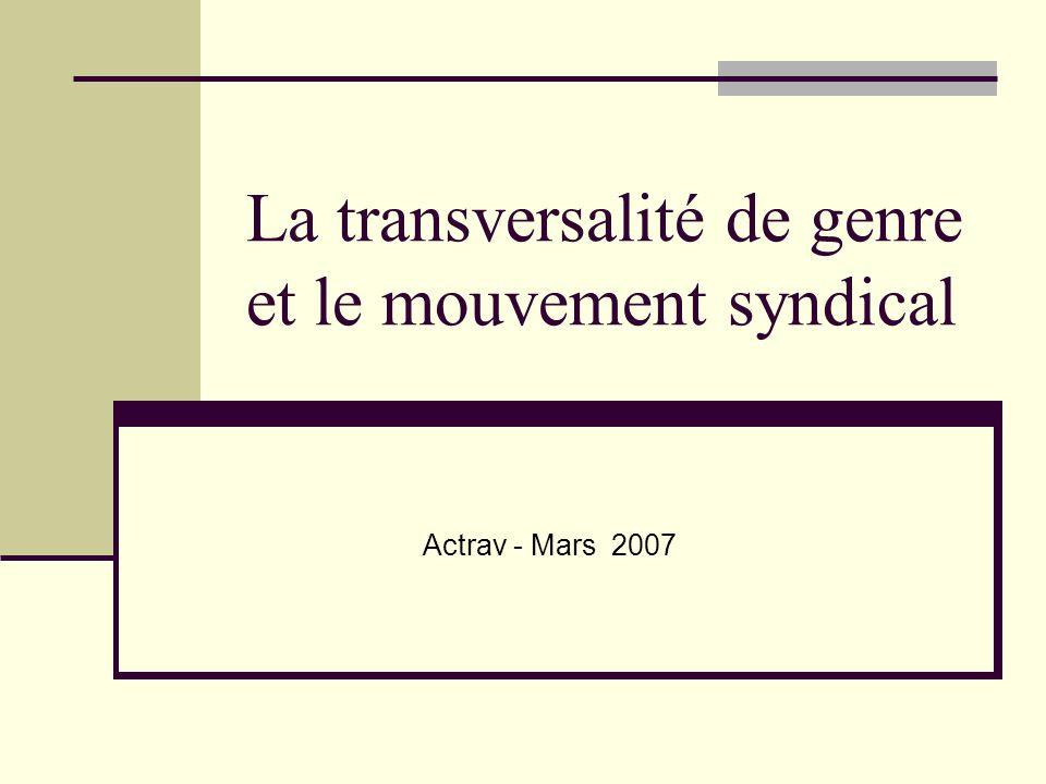 La transversalité de genre et le mouvement syndical Actrav - Mars 2007