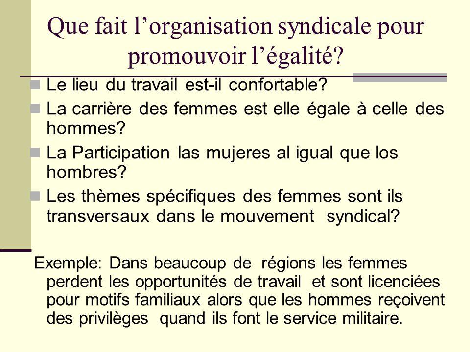 Que fait lorganisation syndicale pour promouvoir légalité? Le lieu du travail est-il confortable? La carrière des femmes est elle égale à celle des ho