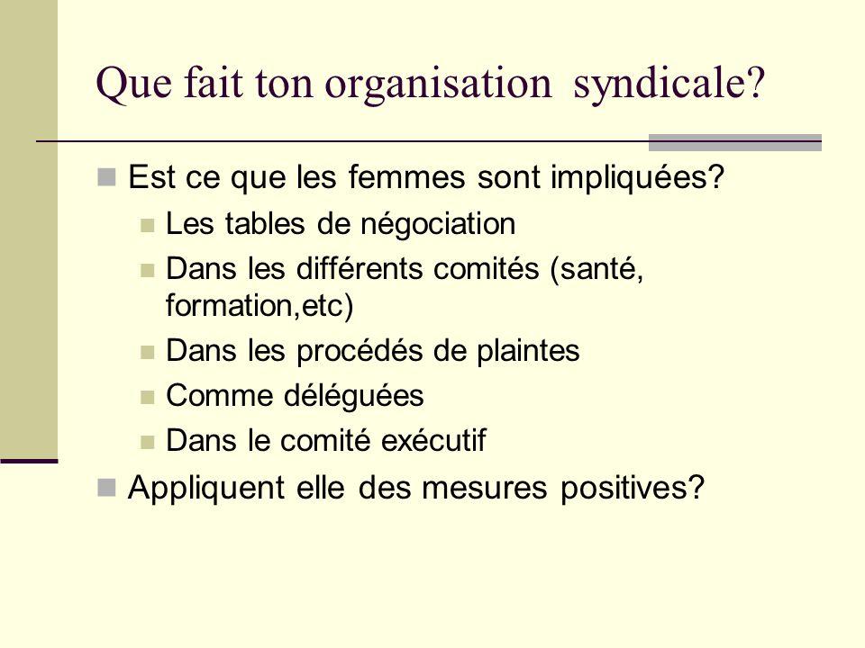 Que fait ton organisation syndicale? Est ce que les femmes sont impliquées? Les tables de négociation Dans les différents comités (santé, formation,et