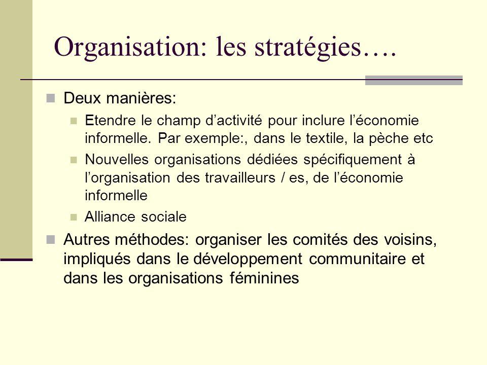 Organisation: les stratégies…. Deux manières: Etendre le champ dactivité pour inclure léconomie informelle. Par exemple:, dans le textile, la pèche et