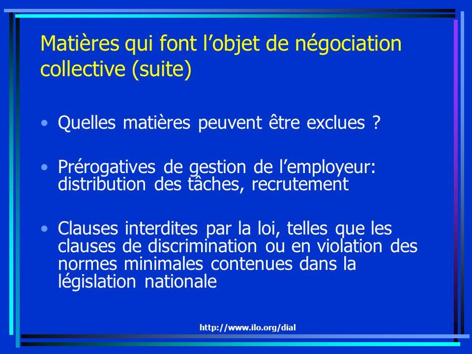 http://www.ilo.org/dial Matières qui font lobjet de négociation collective (suite) Quelles matières peuvent être exclues ? Prérogatives de gestion de