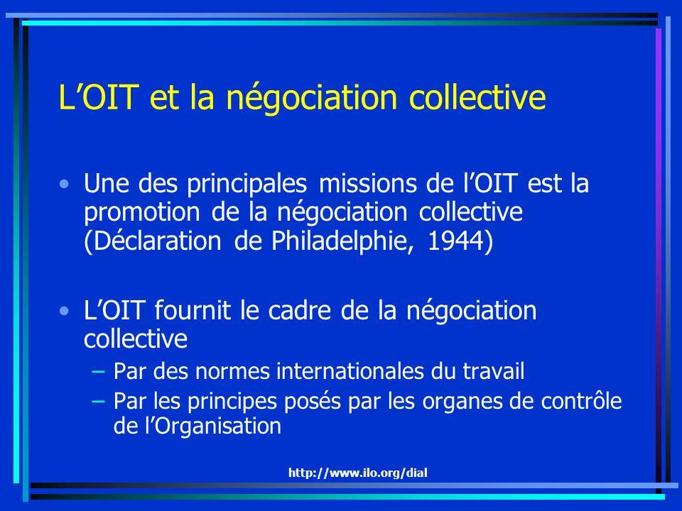 http://www.ilo.org/dial Spécificité de la Convention de la Convention n° 154 Couvre avec le secteur privé toute ladministration publique Précise les moyens par lesquels parvenir à la promotion de la négociation collective