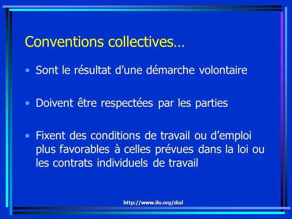 http://www.ilo.org/dial Conventions collectives… Sont le résultat dune démarche volontaire Doivent être respectées par les parties Fixent des conditio