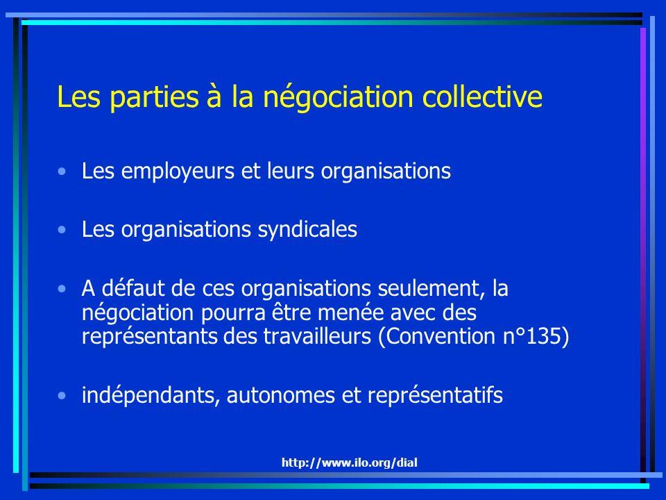 http://www.ilo.org/dial Les parties à la négociation collective Les employeurs et leurs organisations Les organisations syndicales A défaut de ces org