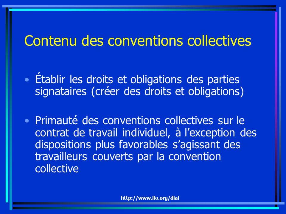 http://www.ilo.org/dial Contenu des conventions collectives Établir les droits et obligations des parties signataires (créer des droits et obligations