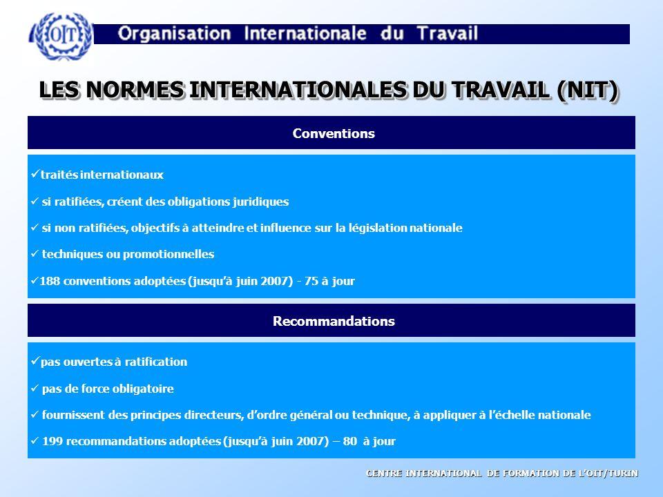 CENTRE INTERNATIONAL DE FORMATION DE LOIT/TURIN AUTRES INSTRUMENTS DE LOIT Déclarations Résolutions Codes de directives pratiques