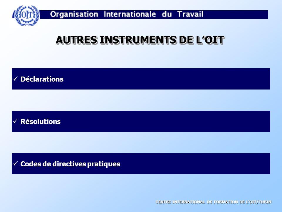 CENTRE INTERNATIONAL DE FORMATION DE LOIT/TURIN CARACTERISTIQUES DES NIT Tripartisme Universalité Flexibilité Application sujette à un contrôle international