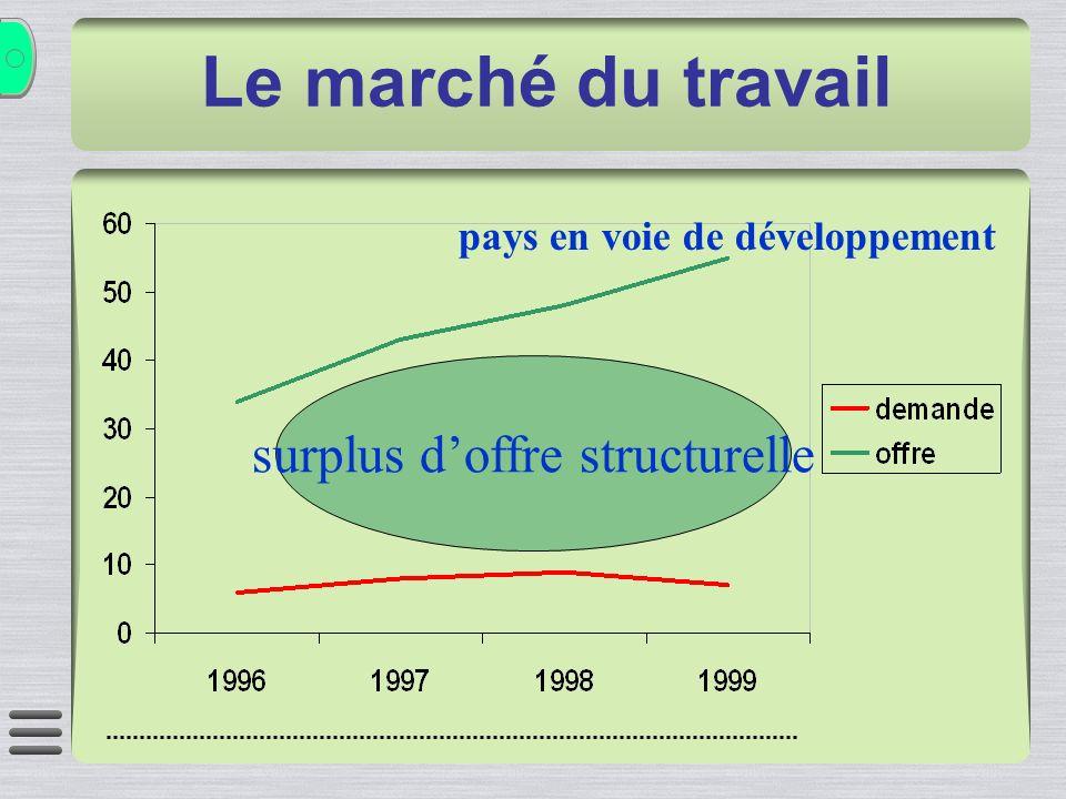 surplus doffre structurelle pays en voie de développement Le marché du travail