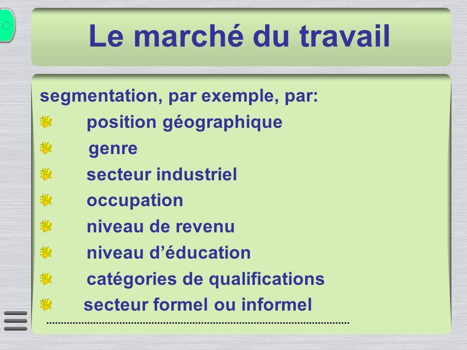 segmentation, par exemple, par: position géographique genre secteur industriel occupation niveau de revenu niveau déducation catégories de qualifications secteur formel ou informel Le marché du travail