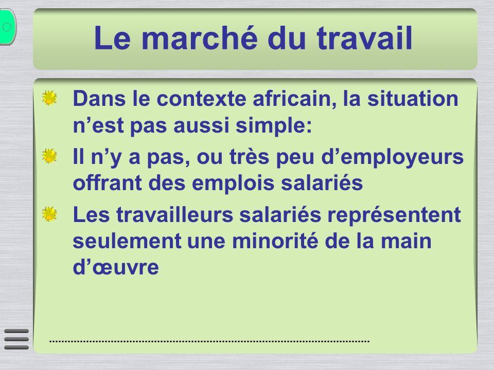 Dans le contexte africain, la situation nest pas aussi simple: Il ny a pas, ou très peu demployeurs offrant des emplois salariés Les travailleurs salariés représentent seulement une minorité de la main dœuvre Le marché du travail