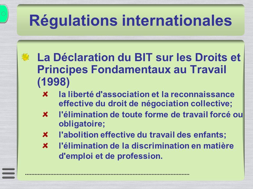 Régulations internationales La Déclaration du BIT sur les Droits et Principes Fondamentaux au Travail (1998) la liberté d'association et la reconnaiss