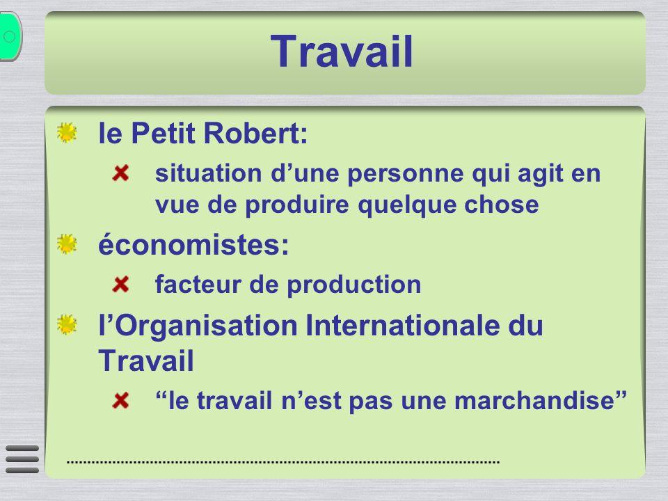 Travail le Petit Robert: situation dune personne qui agit en vue de produire quelque chose économistes: facteur de production lOrganisation Internatio