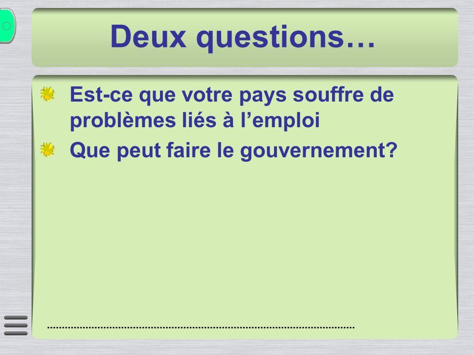 Deux questions… Est-ce que votre pays souffre de problèmes liés à lemploi Que peut faire le gouvernement