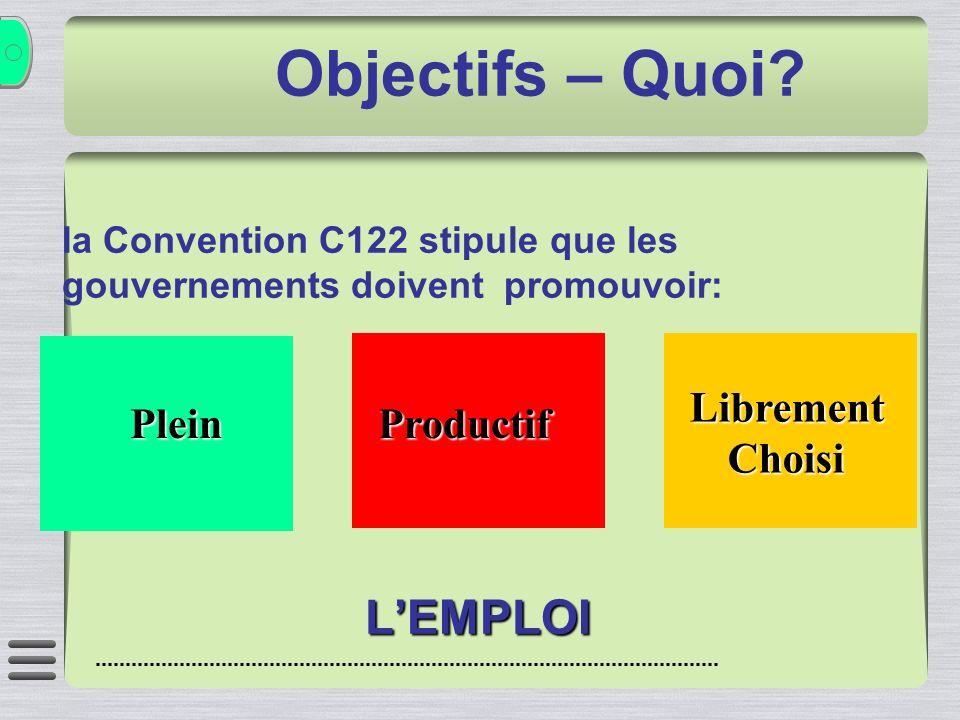 Objectifs – Quoi? la Convention C122 stipule que les gouvernements doivent promouvoir:LEMPLOI Plein Productif LibrementChoisi