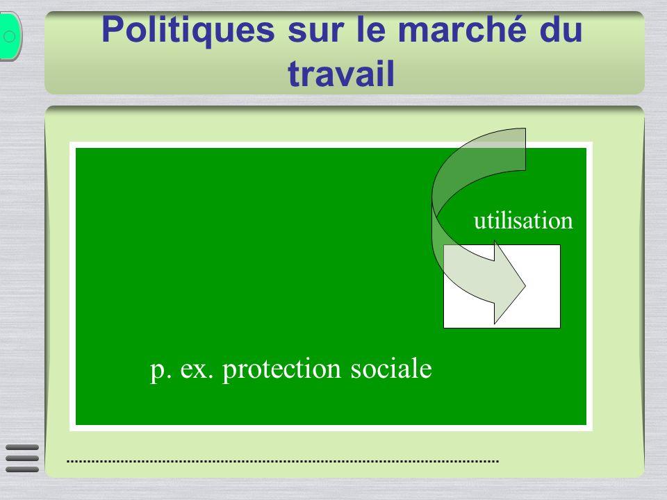 utilisation p. ex. protection sociale Politiques sur le marché du travail