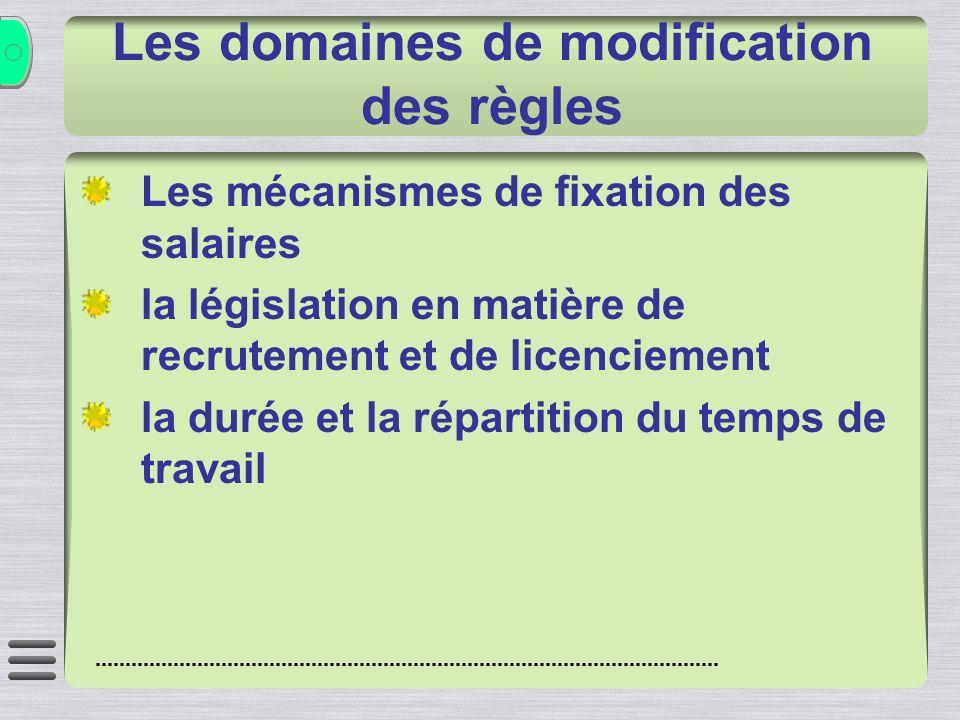 Les domaines de modification des règles Les mécanismes de fixation des salaires la législation en matière de recrutement et de licenciement la durée et la répartition du temps de travail