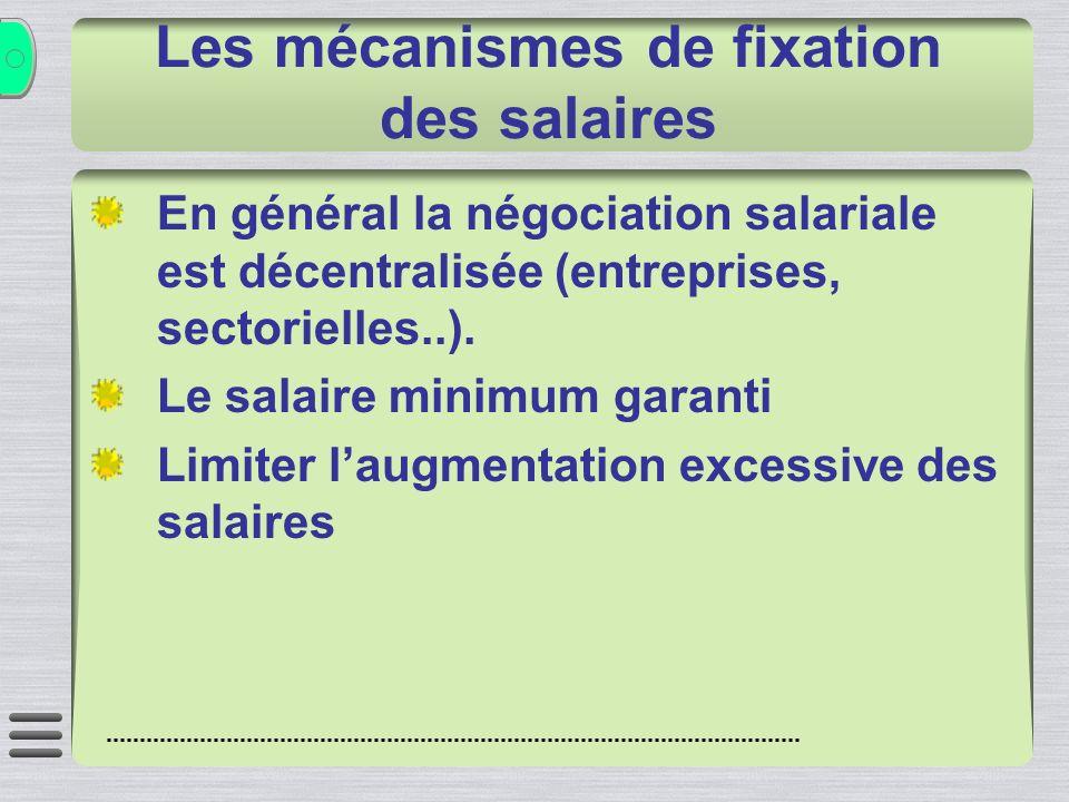 Les mécanismes de fixation des salaires En général la négociation salariale est décentralisée (entreprises, sectorielles..). Le salaire minimum garant
