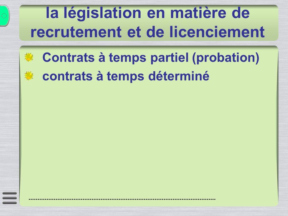 la législation en matière de recrutement et de licenciement Contrats à temps partiel (probation) contrats à temps déterminé