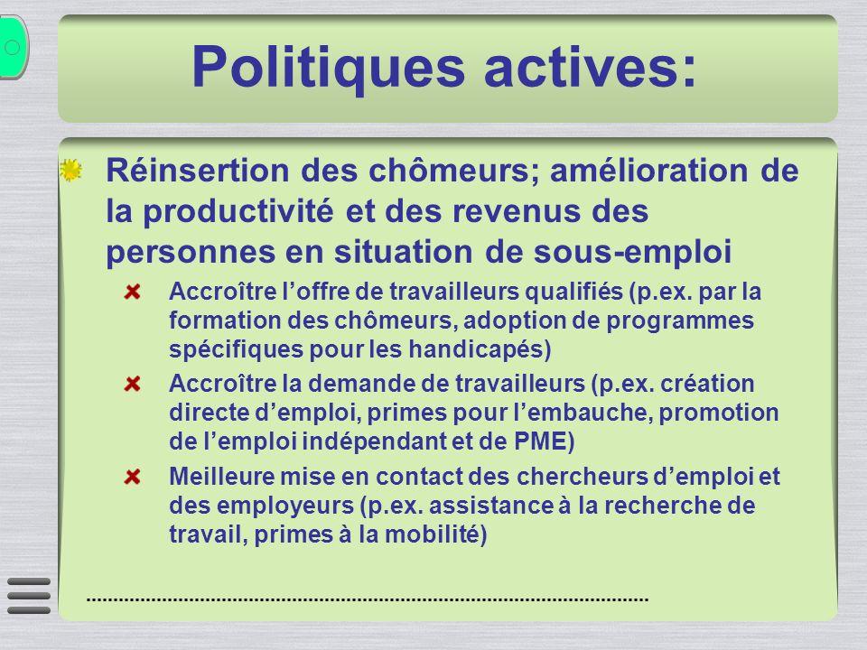 Politiques actives: Réinsertion des chômeurs; amélioration de la productivité et des revenus des personnes en situation de sous-emploi Accroître loffre de travailleurs qualifiés (p.ex.