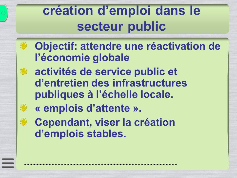 création demploi dans le secteur public Objectif: attendre une réactivation de léconomie globale activités de service public et dentretien des infrastructures publiques à léchelle locale.